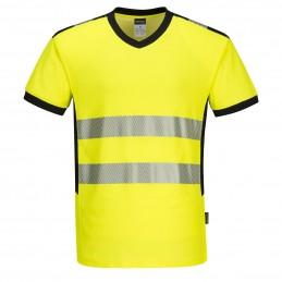 T-shirt coton col V haute visibilité jaune