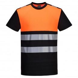 T-shirt PW3 Noir/Orange haute visibilité classe 1