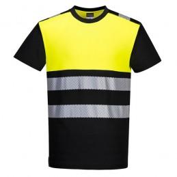 T-shirt PW3 Noir-jaune haute visibilité classe 1