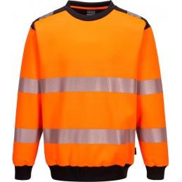 Sweat à col rond orange noir PW3 haute-visibilité