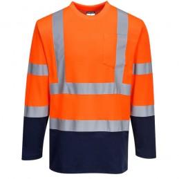 T-Shirt Coton orange marine Comfort bicolore manches longues