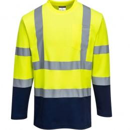 T-Shirt Coton jaune marine Comfort bicolore manches longues