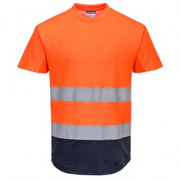 Tee-shirt orange marine Mesh bicolore