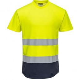 Tee-shirt jaune marine Mesh bicolore