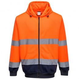 Sweat à capuche orange marine bicolore à zip
