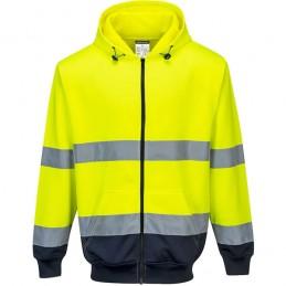 Sweat à capuche jaune marine bicolore à zip
