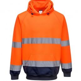 Sweat shirt à capuche bicolore Orange Marine