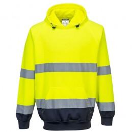 Sweat shirt à capuche bicolore jaune Marine