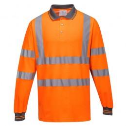 Polo coton majoritaire manches longues Orange