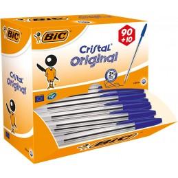 Stylo bille Cristal bleu Original - Boîte de 90 + 10 offerts - Bic®