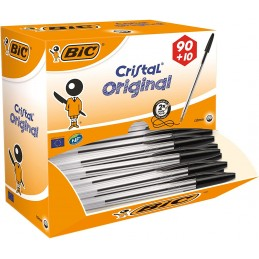 Stylo bille Cristal noir Original - Boîte de 90 + 10 offerts - Bic®