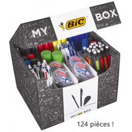 Boîte 124 produits d'écriture et correction My box Bic