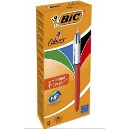Boîte de 12 Stylos bille 4 couleurs rétractable Bic