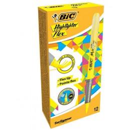 12 Surligneurs BIC Highlighter Grip Flex Jaune