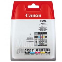 Canon PGI-580/CLI-581 Cartouche BK/CMYK Multipack Noir, Cyan, Magenta, Jaune