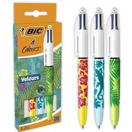 BIC 4 Couleurs Velours Stylos-Bille Pointe Moyenne (1,0 mm) Motifs Assortis, Pack de 3 Bleu Vert