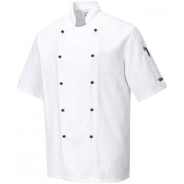 Veste de cuisine blanche en tissu sergé