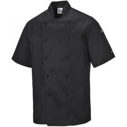 Veste de cuisine noire en tissu sergé