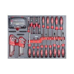Servante d'atelier avec 318 outils PROMAC, section tournevis.
