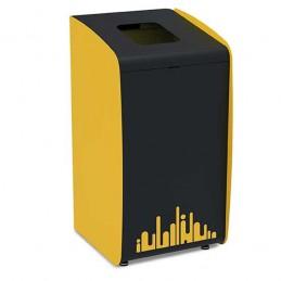 Borne à déchets jaune