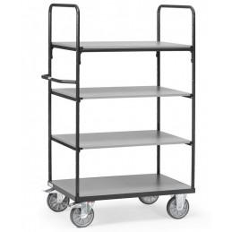 Chariot manuel 600 kg 4 étagères couleur gris