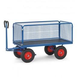 Char à bras 2000 x 1000 mm avec 4 ridelles capacité 1250 kg roues caoutchouc
