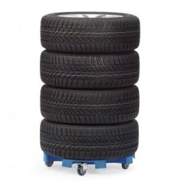 Rouleur pour transport et stockage de pneus : avec 4 roues complètes.