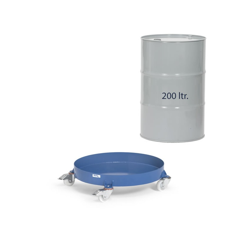 Rouleur pour fûts de 200 litres avec bidon.