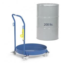 Rouleur pour fûts de 200 litres avec dossier de poussée : mise en situation.