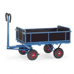 Char à bras avec 3 ridelles amovibles roues gonflables.