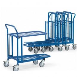 Chariot emboîtable 2 plateaux en treillis acier